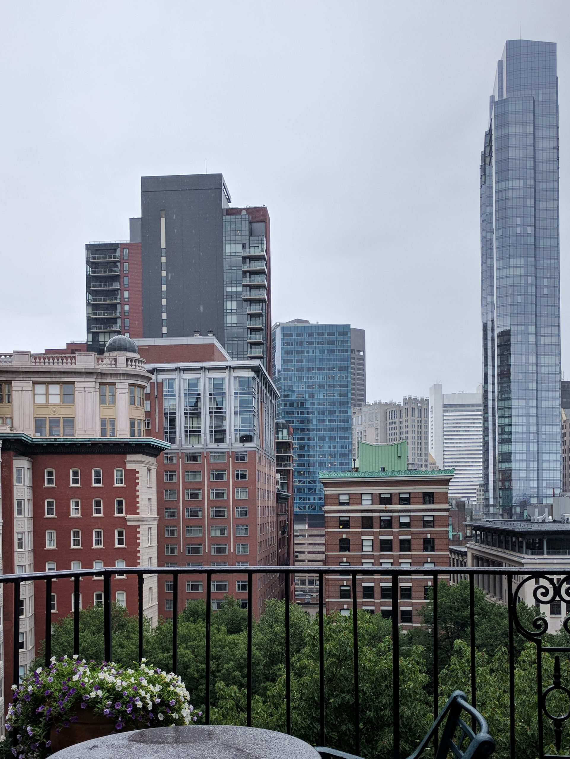 city skyline from the fifth floor of the Boston Athenaeum on a cloudy day