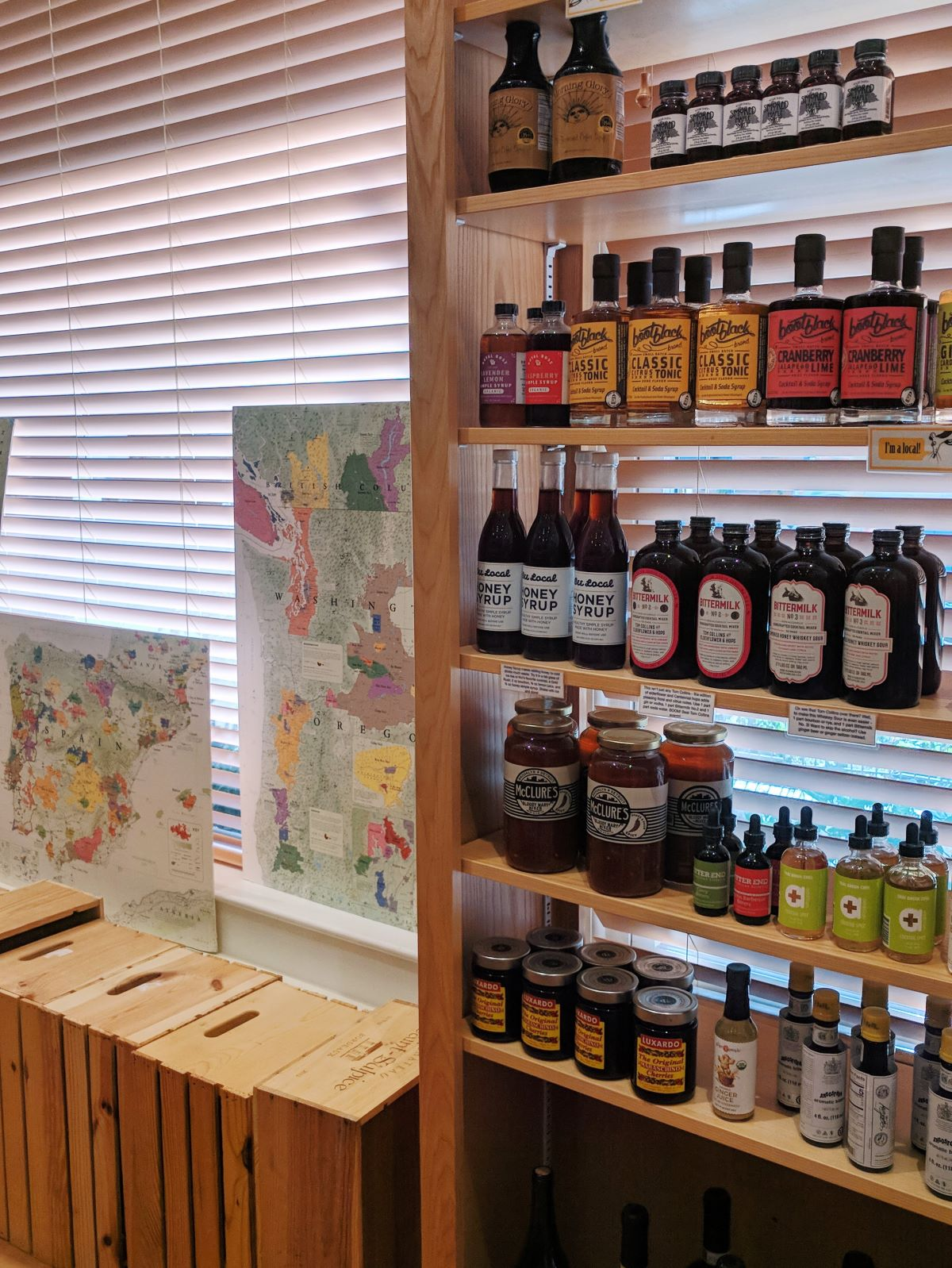 shelf of syrups and tonics