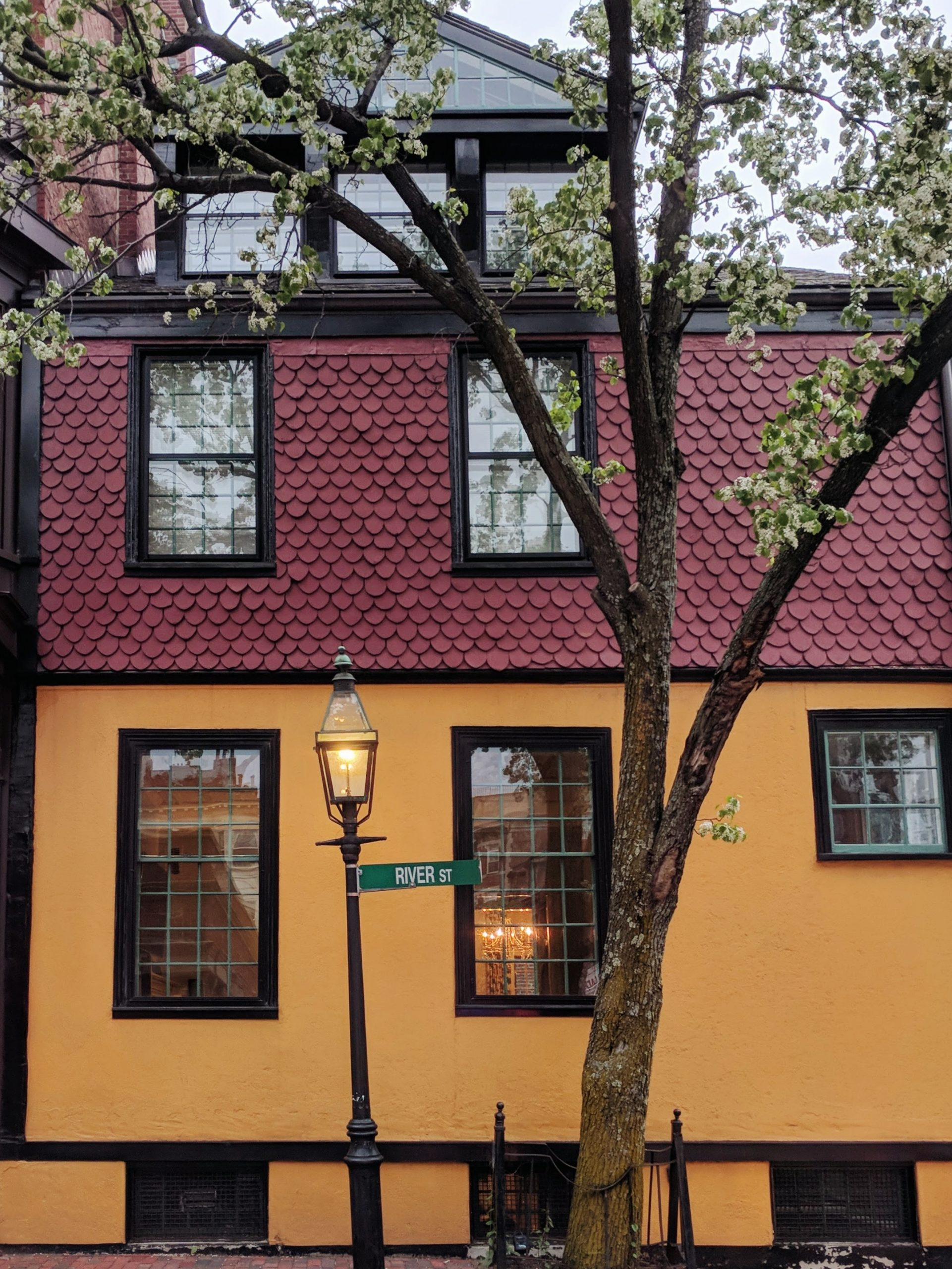 a purple and orange color block house in Beacon Hill