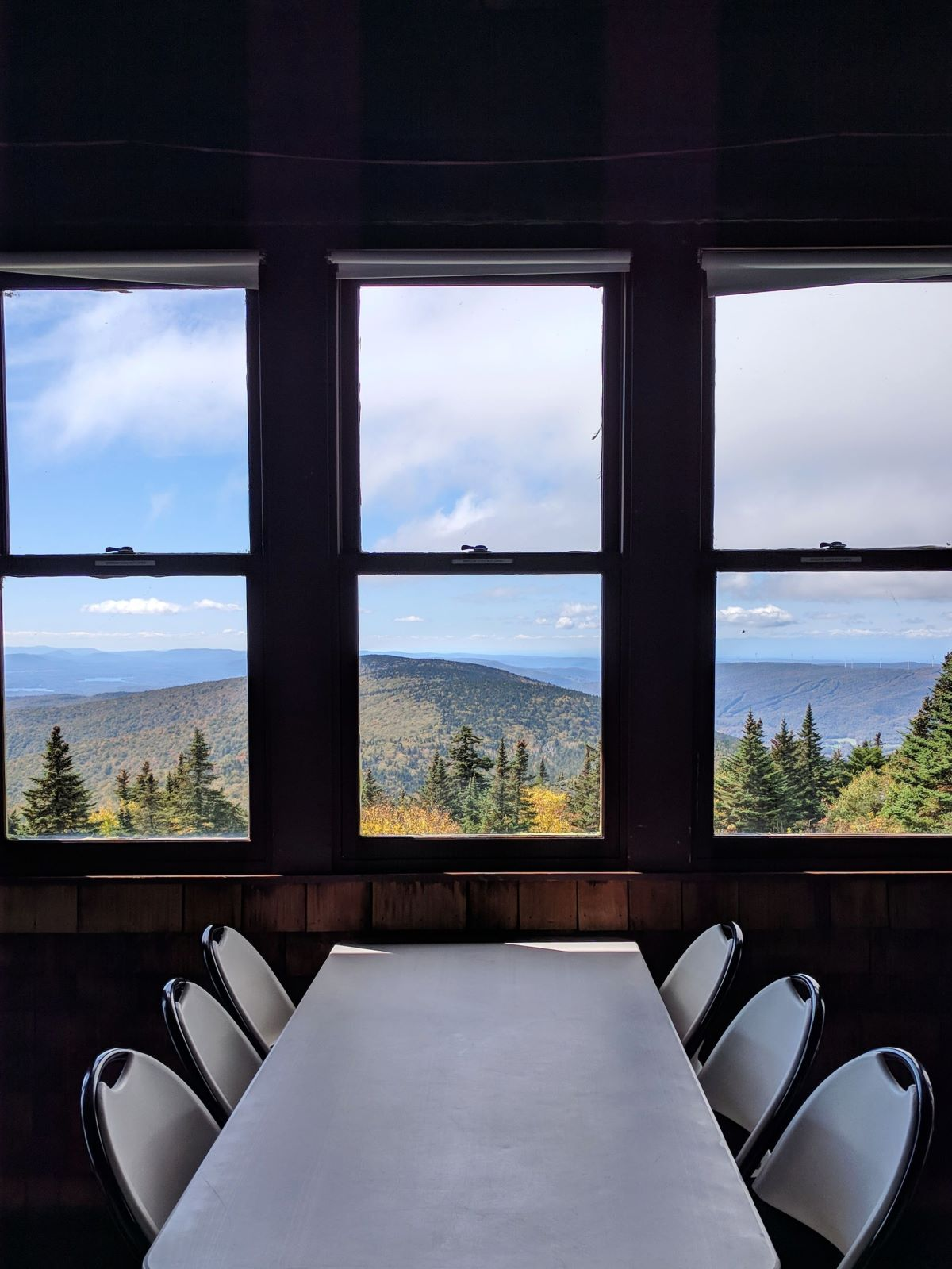 view of the mountains from the windows in Bascom Lodge