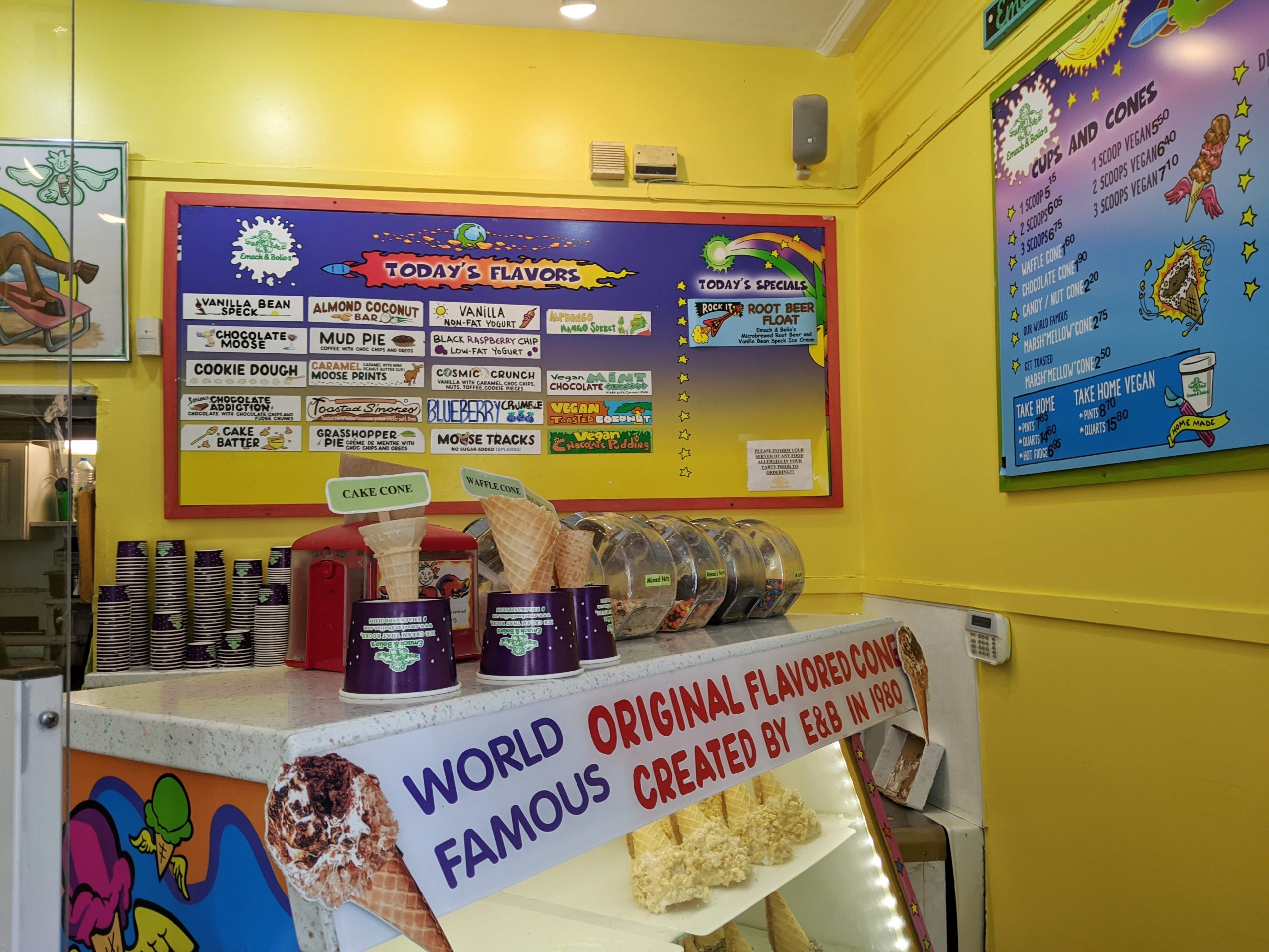 Colorful yellow interior of Emack and Bolio's