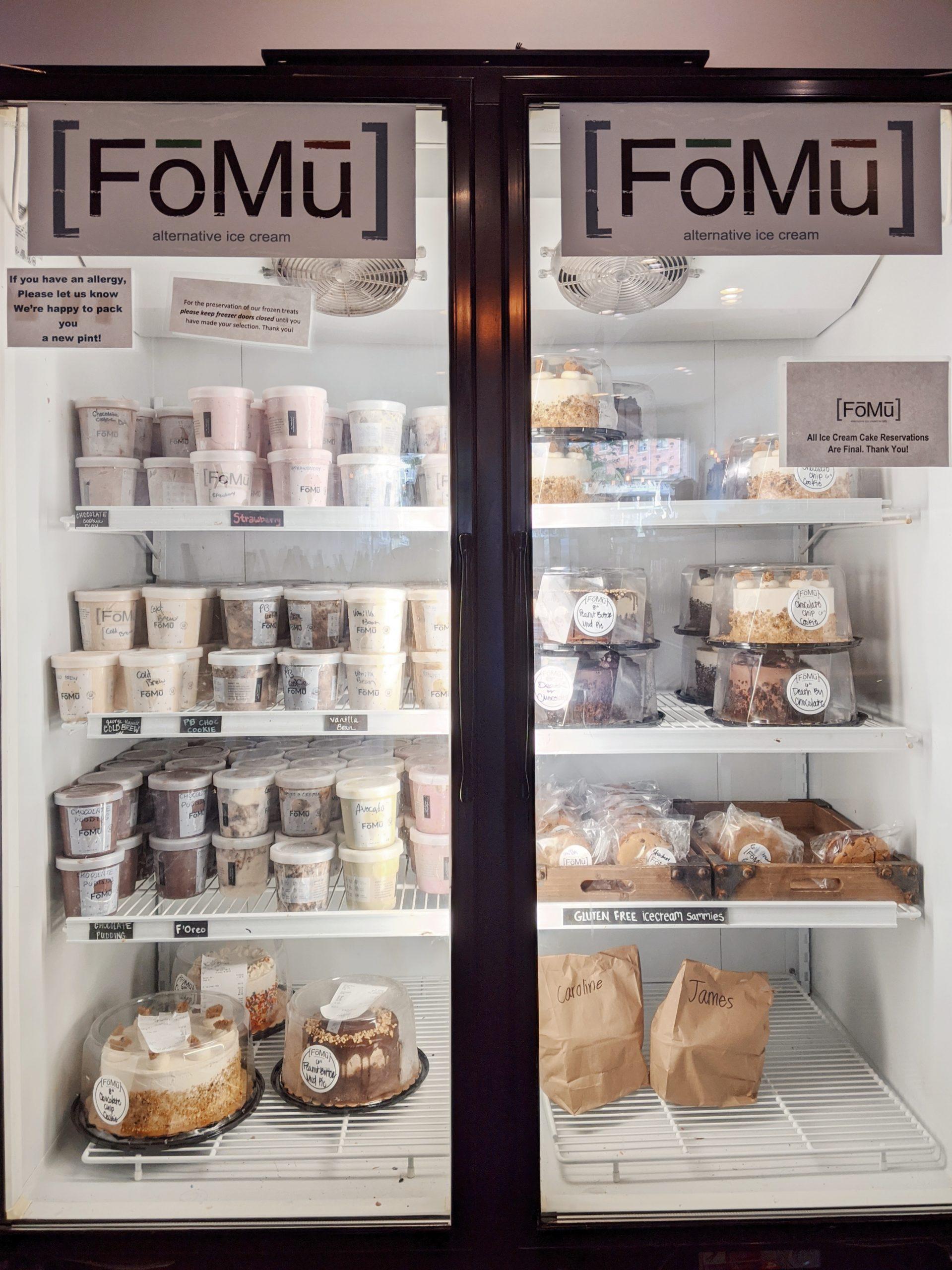 FoMu vegan ice cream - freezer full of ice cream pints and cakes