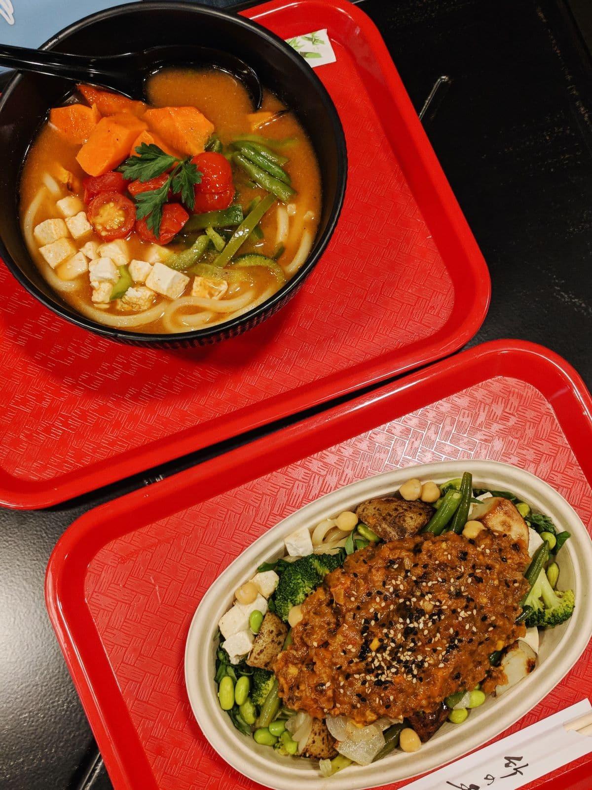 two bowls of vegan Japanese food