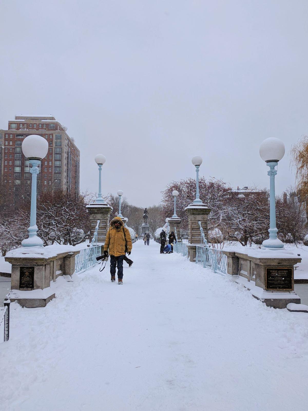 snow-covered bridge in the Boston Public Garden