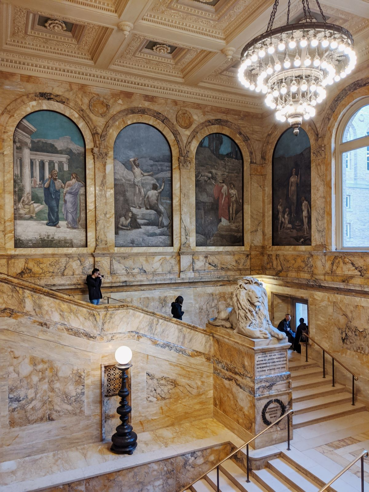 the marble staircase of the Boston Public Library