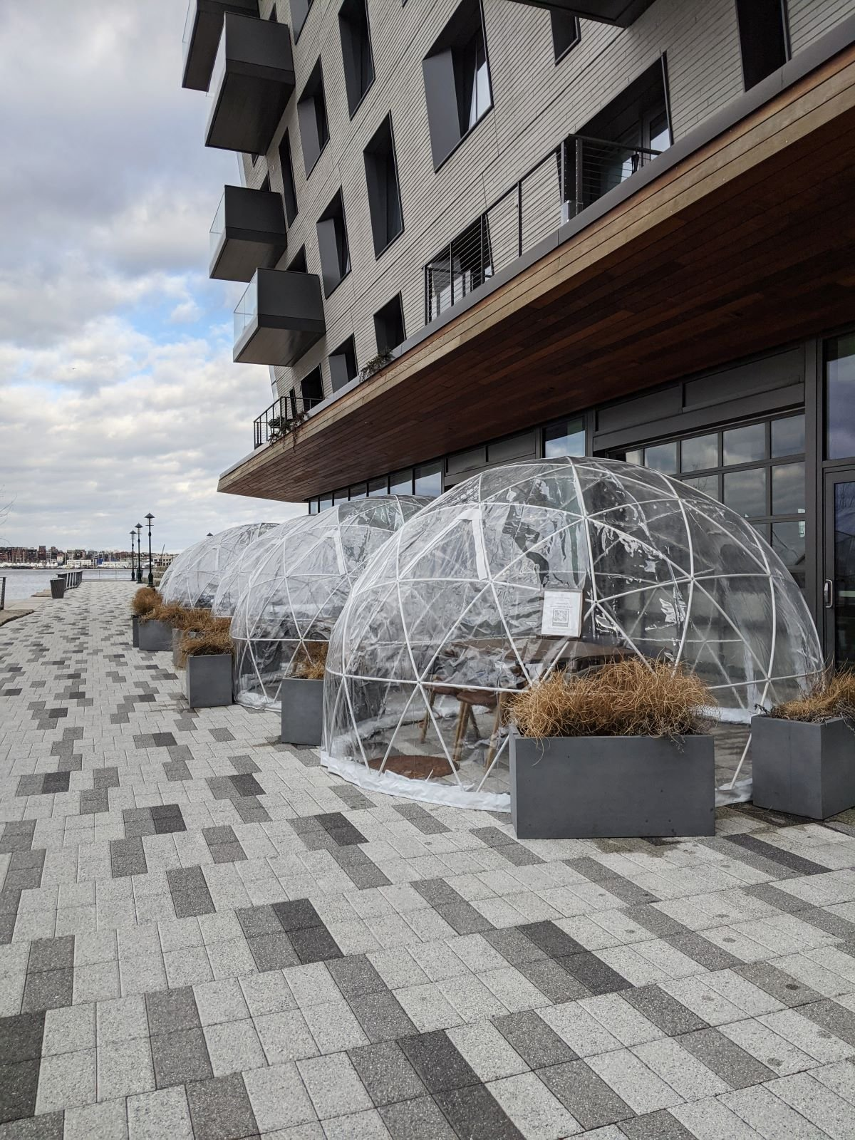 igloo restaurant capsules along the harbor in Seaport