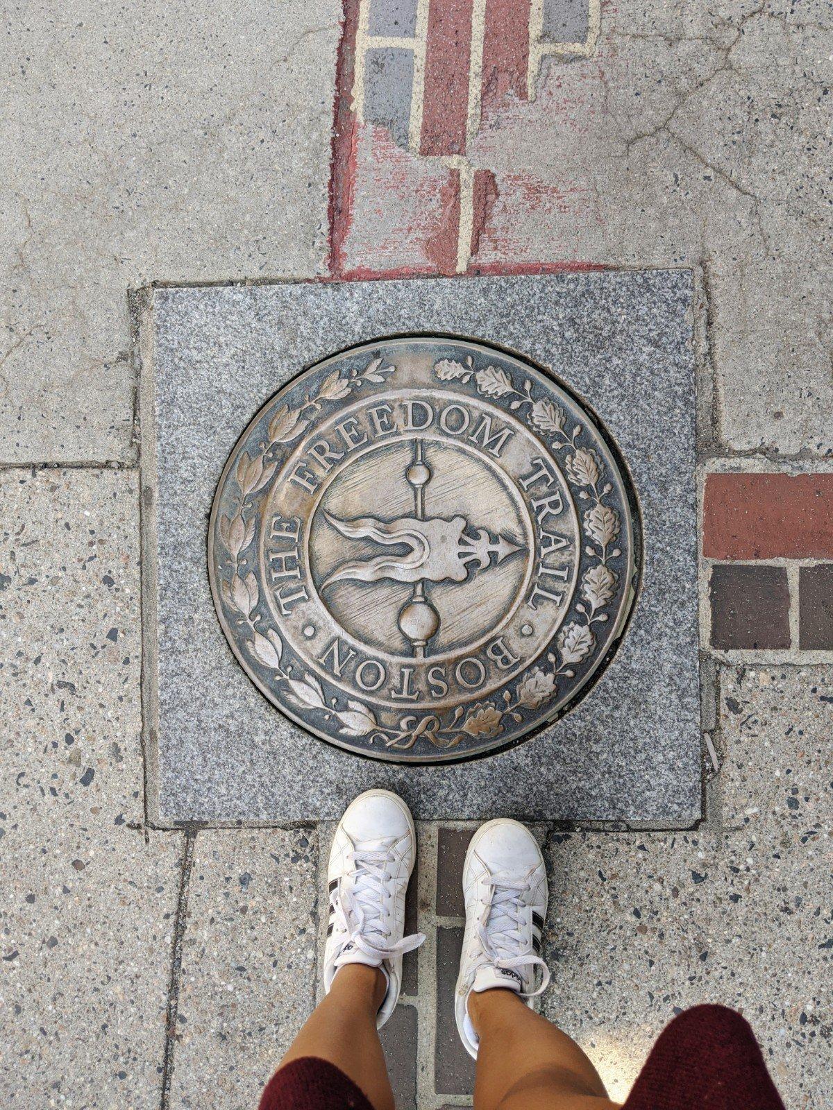 Freedom Trail symbol and bricks
