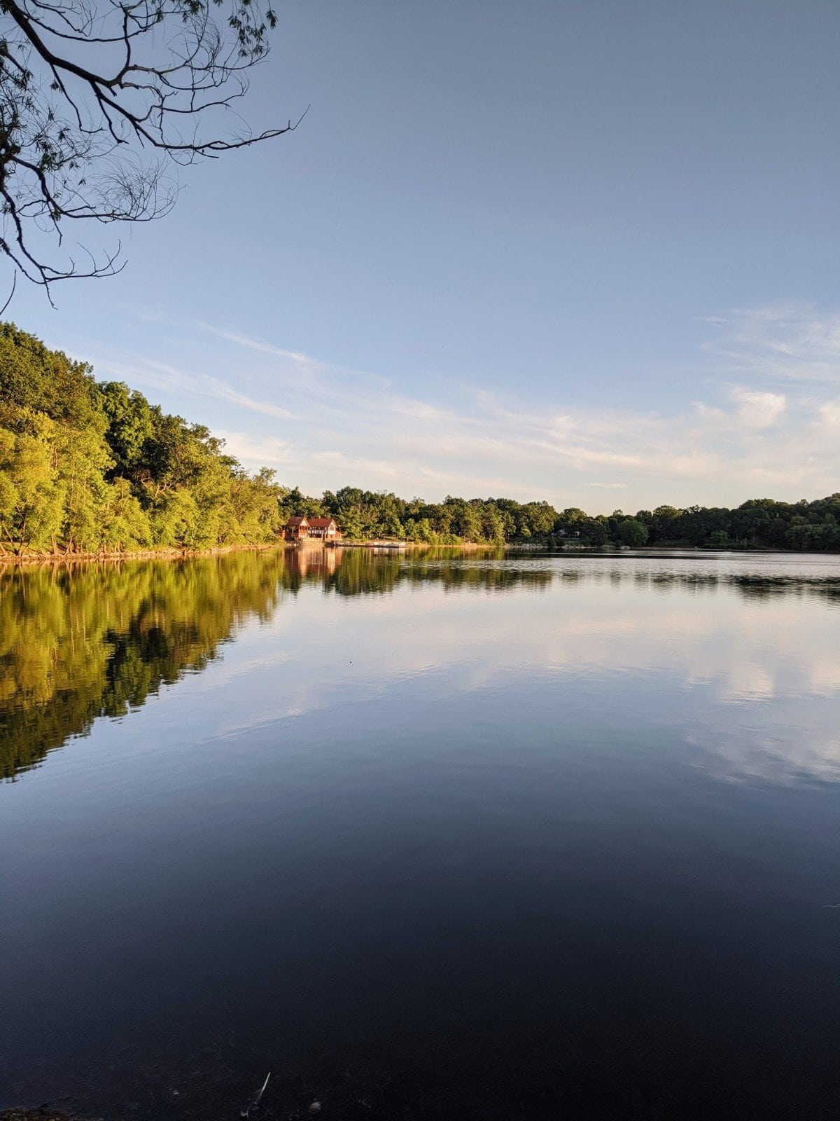 Photo of still blue water with a reflection of the trees at Jamaica Pond, photo by Roaming Boston