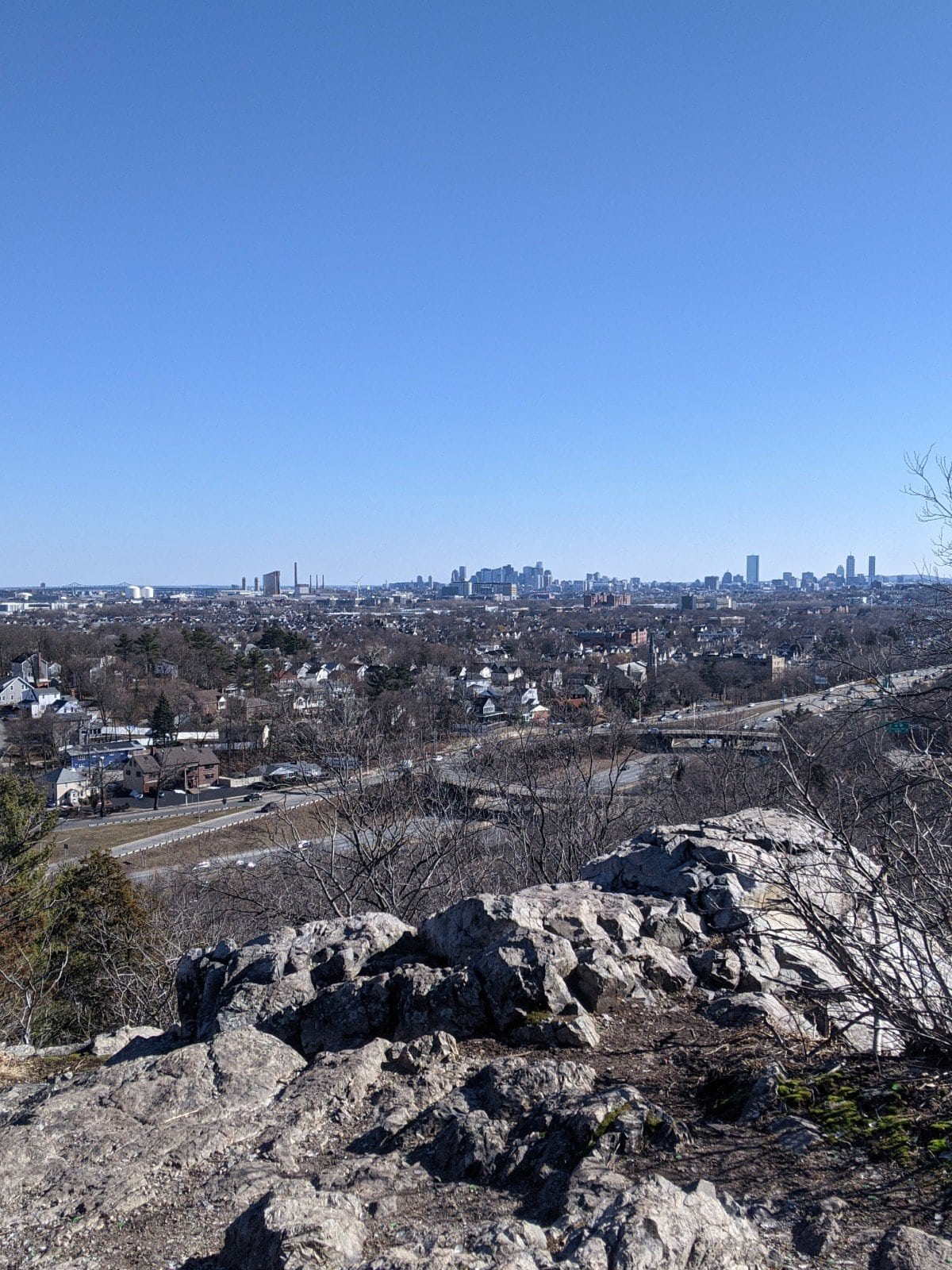 View of the Boston skyline on the Skyline Trail at Middlesex Fells, photo by Roaming Boston