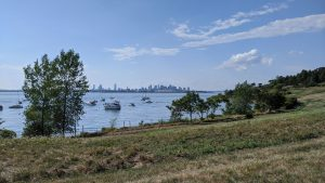 view of the Boston skyline and ocean framed by trees and grass in the foreground